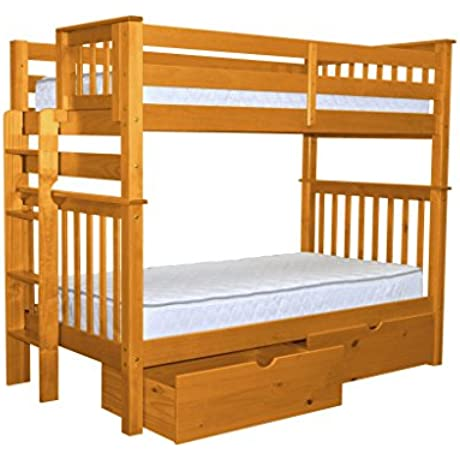 Bedz King Tall Bunk Beds Twin Over Twin Mission Style With End Ladder And 2 Under Bed Drawers Honey