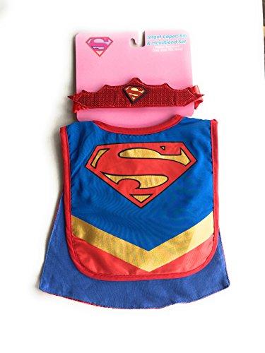 Supergirl Infant caped bib & headband set