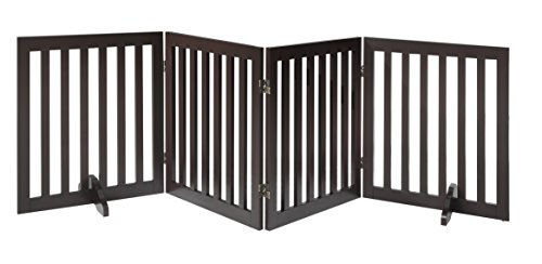 Total Win - Freestanding 24 Step Over Dog Gate w/ Support Feet (Espresso) | Up to 80 Wide | Assembly-free | Sturdy Wooden Structure | Foldable Design