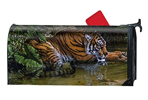 fael Artistic Painting Tiger Pond Leaf Magnetic Mailbox Covers, Suitable for Spring, Summer, Fall/Autumn and Winter