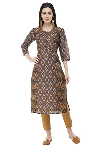 (Lagi Women Designer Straight Front Slit A line Top Tunic Kurta Kurtis Casual Formal Party wear Wedding wear for Women Top (XL, Multi)