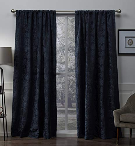 Exclusive Home Elle Chenille Floral Scroll Woven Blackout Rod Pocket Curtain Panel Pair, Navy, 52x96 ()