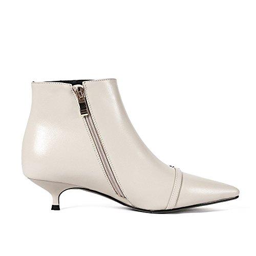 Comfortable Nine Walking Ankle Women's Low Side Graceful Handmade Pointed Seven Shoe Toe Heel Beige Boot Zipper Fashion qrgrRxECw