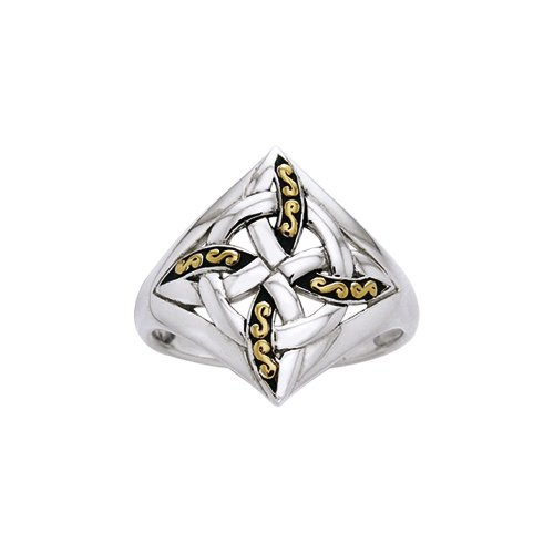 Celtic Four Point Knot Sterling Silver & Gold Ring