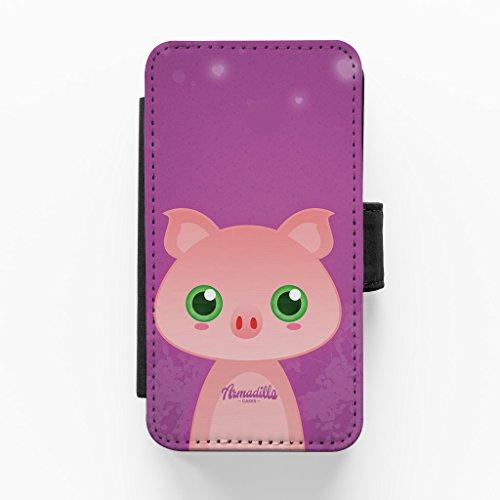Cute Farmyard Pig Hochwertige PU-Lederimitat Hülle, Schutzhülle Hardcover Flip Case für iPhone 5 / 5s vom DevilleArt + wird mit KOSTENLOSER klarer Displayschutzfolie geliefert
