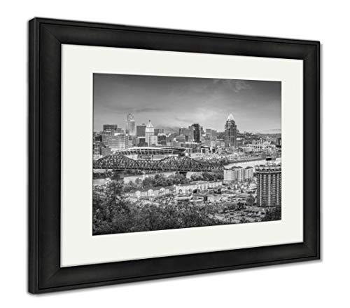 (Ashley Framed Prints Cincinnati, Ohio, USA Skyline, Wall Art Home Decoration, Black/White, 26x30 (Frame Size), Black Frame,)