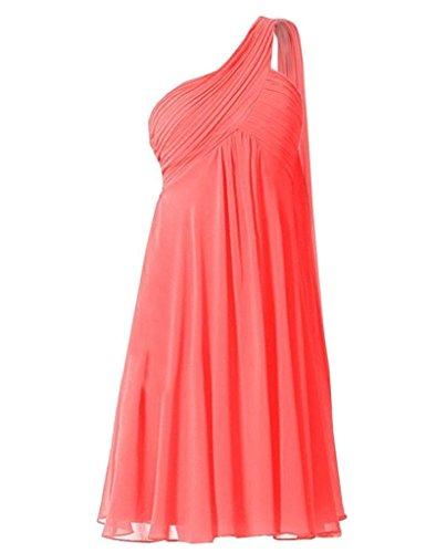 One for Weddings Bridesmaid Chiffon Shoulder Lavender Coral Damen Dress Kurz Fanciest TRqPnP