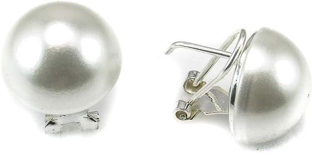 Minoplata Pendientes media Perla sintéticas 16 Mm. con cierre omega de Plata de ley un diseño para una mujer que adora las joyas que no pasan de moda, ideales para vaqueros o para un look de fiesta