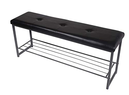 GIA Bench with 2-Storage Cubes, Black Faux Leather/Light Gray ()