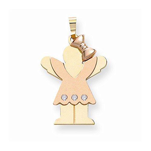 Kids Boy Diamond Charm - 14K Two-Tone Gold Bezel-Set Triple Round Diamond Kid Girl Charm Pendant