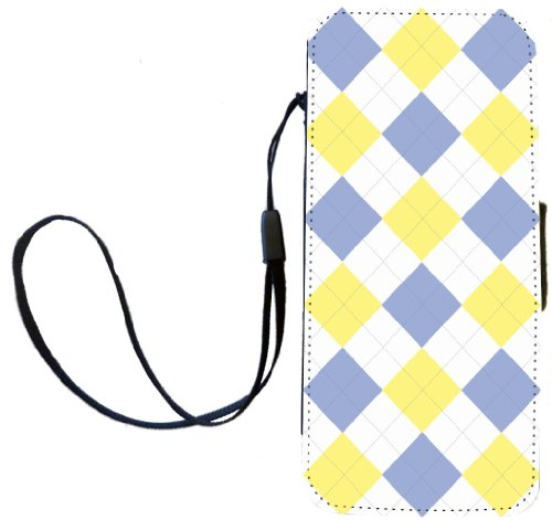 Rikki Knight Blue and Yellow on White Argyle Flip Wallet Case with Magnetic Flap for Apple iPhone 5 and 5s