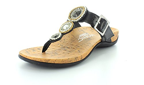 Black Women's beaded Adelie Sandals Vionic Thong qPXrwPv