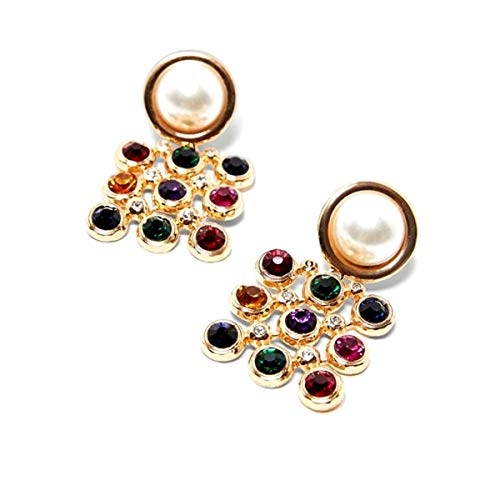 (Captivating Multi Natural Stones of Warm Colors Adorn These Yellow Gold Dangle Drop Earrings Accented with a Round Pearl Colored Stone)