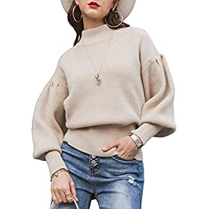 Miessial Women's Crew Neck Lantern Sleeve Sweater Pullover Elegant Knit Jumper Top