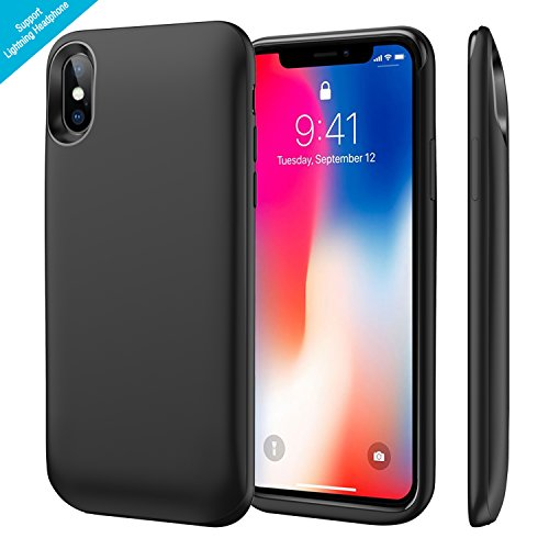 iPhone X Battery Case, 6000mAh Rechargeable Charging Case Supports Wired Headset/Bluetooth Earphone/Lightning Cable, Portable Charger Case for iPhone 10, SYNC Through Technology (Black)