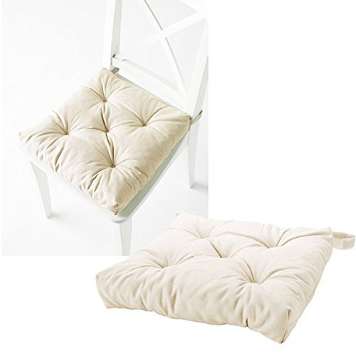 Amazon.com: Cream Color Chair Cushion Pad Machine Washable Cotton  Reversible: Home U0026 Kitchen