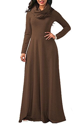 YACUN La Mujer Casual Manga Larga Cowl Neck Long Maxi Vestido Invierno Swing Brown