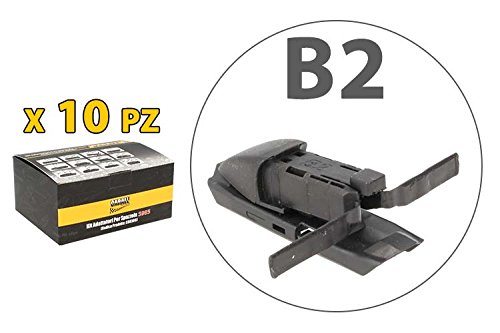 Kit 10 fijaciones Conectores Adaptadores Conectores B2 para escobillas limpiaparabrisas Carall s985: Amazon.es: Coche y moto