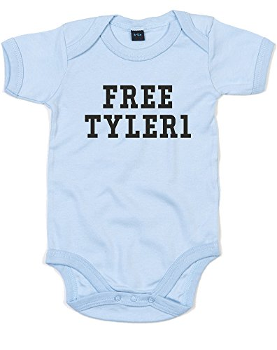 Free Tyler1, Printed Baby Grow - Dusty Blue/Black 3-6 Months