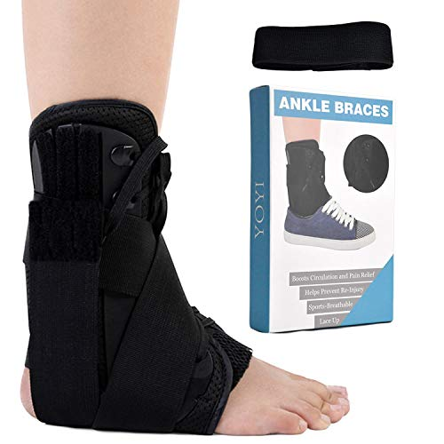 YOYI Ankle Brace,Lace Up Adjustable Support,Ankle Support Brace for Ankle Sprains,Breathable,Compression Brace for Arthritis,Pain Relief, Sprains,Sports Injuries and Recovery for Men&Women (M)