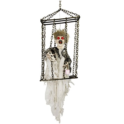 Halloween Haunters Animated Hanging Caged Shaking Ghost Ghoul Prisoner with Moving Hands Prop Decoration - Scary Screams, Flashing Eyes, Prison Jail - Battery Operated (Fright Props)
