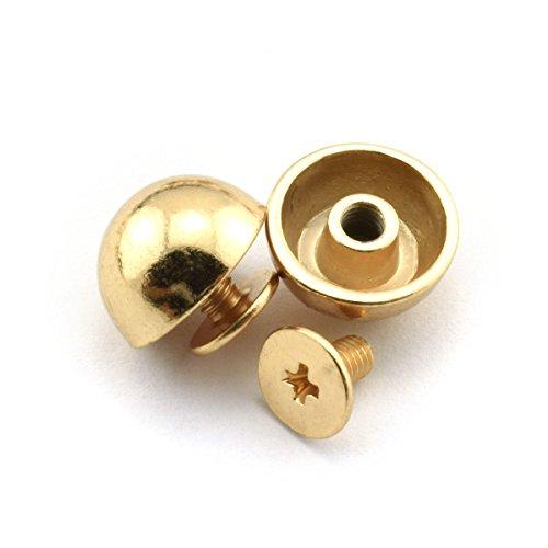 LQ Industrial 4-Pack 1//2 Purse Handbag Feet Nailhead Flat Head Stud Solid Brass Screw-Back Spike Metal Studs Rivet Leather Craft DIY Gold