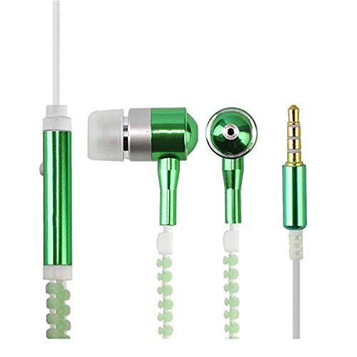 CamKpell Wired Earphone Luminous Light Zipper Headphone 3.5mm Audio Jack Earbuds Glow In The Dark In-ear Headset with…