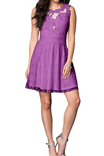 Damen Kurz Linie Abendkleid Cocktailkleider Brautjunfernkleid Ivydressing Violett Spitze A Beliebt HqBw446