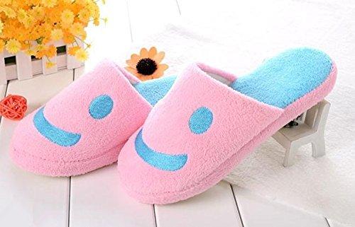 Smiley Viskey Mantenendo Calde Pantofole Di Cotone Per Donna, Rosa, Taglia Us 8-8.5