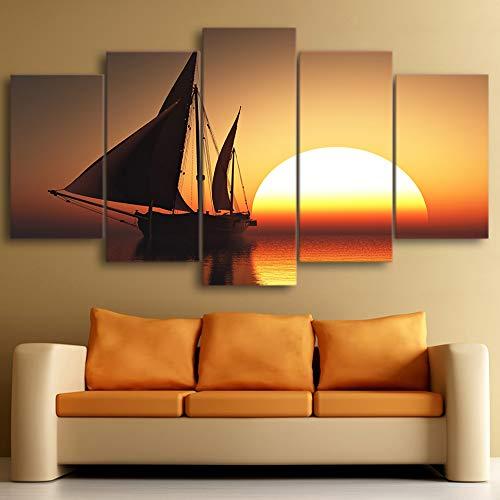 Modulare Bilder Moderne Leinwand Rahmen HD Gedruckt 5 Stück/pcs Sonne Meer Schiff Landschaft Home Decor Wohnzimmer Wand Kunst Malerei (Sonne Bilder Für Kinder)
