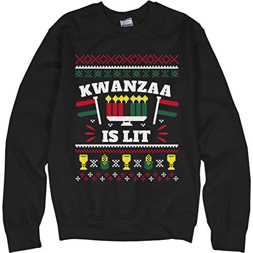 Customized Girl Kwanzaa is Lit Ugly Sweater: Unisex Ultimate Crewneck Sweatshirt Black