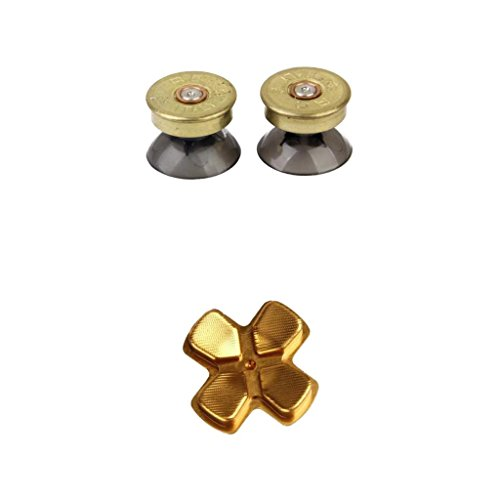 Fenteer Brass Thumbsticks Analog Buttons Set w D Pad Button For Sony PS4 Controller