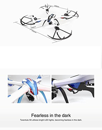 Floureon Yizhan Tarantula X6 2.4G 4CH 6-Axis Gyro Speed Adjustment Switch Strong Power LED Lights CF Mode Automatic Return RTF USB Charging RC Quadcopter,Tarantula X6 Blue