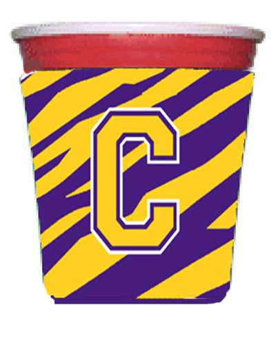 - Tiger Stripe - Purple Gold Letter C Monogram Initial Red Solo Cup Beverage Insulator Hugger