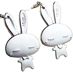 1 Pair Cute Couple Keychain Silver Metal Rabbit Keyring Keychain Key Holder Valentine's Day Lover Gift