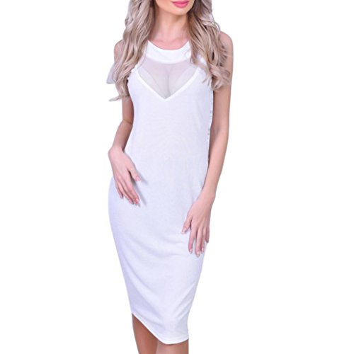 Lamolory Women's Sleeveless Voguish Colorblock Lace Cocktail Party Pencil Dress (White, (Taylor Sleeveless Colorblock Dress)