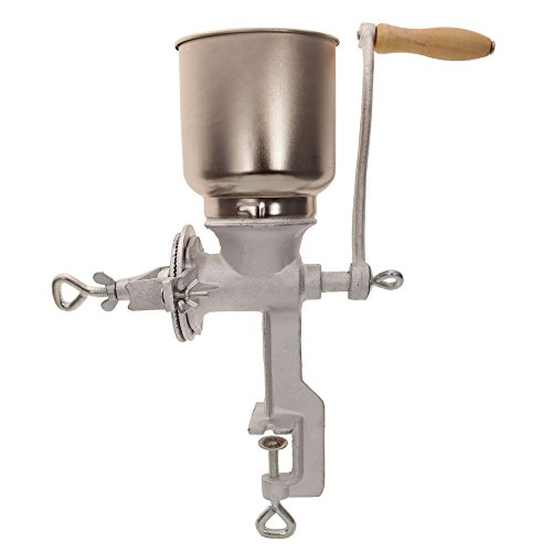 QISE Hand Crank Grain Mill Table Clamp Manual Corn Grain Grinder Cast Iron Mill Grinder for Grinding Nut Spice Wheat Coffee Home Kitchen Commercial Use
