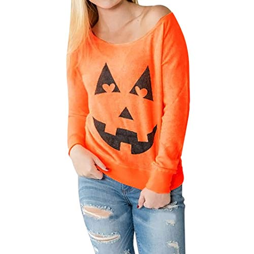 iYBUIA Women Halloween Pumpkin Print Long Sleeve O-Neck Sweatshirt Pullover Tops Blouse Shirt(Orange ,L)