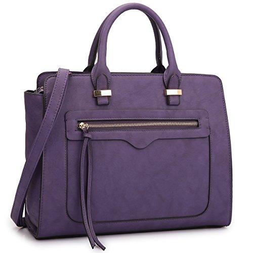 Dasein Women Vegan Leather Handbag and Purse Satchel Bag with Crossbody Strap (73268- - Deep Purple Handbags Leather