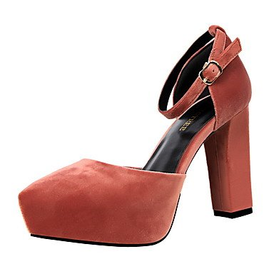 Red CN38 5 Blushing Heel Block EU38 5 US7 Green Fall Spring Chunky Pink Suede UK5 Comfort Heel Burgundy Camel Women'sHeels Dress zAHCwqxR