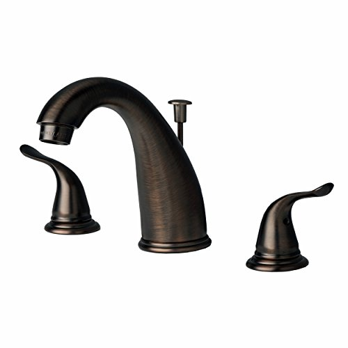 Builders Shoppe 2110BZ Two Handle Widespread Lavatory Faucet with Pop-Up Drain Brushed Bronze Finish (Spout Assembly Widespread)