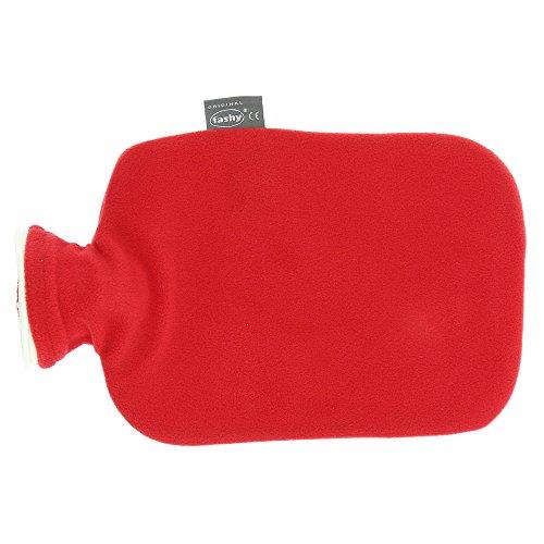 Fashy 6530 42 Wärmflasche, 2.0 L, Vliesbezug, Thermoplast, cranberry