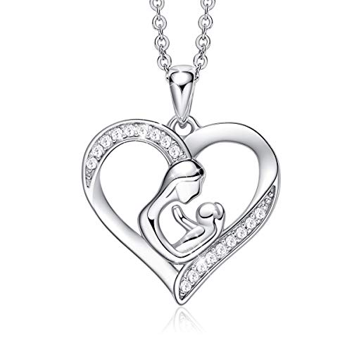 (CDE Women Necklace for Mothers Day Heart Shape with Mother and Son White Gold Plated with CZ Stone Pendant Personalized Necklace for Women, Gift for Mom)