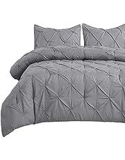Bedsure Comforter Sets Queen Grey Pintuck Double Bed Comforter Set with Decorative Ruffled Pinch Pleat Bedding Comforters for Queen Size Bed 3 Pieces
