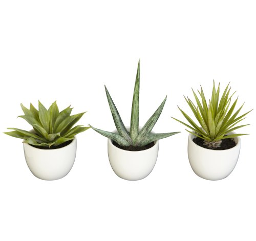 Nearly Natural 4769 Southwest Collection Agave Plant, Green, Set of - Mall South West