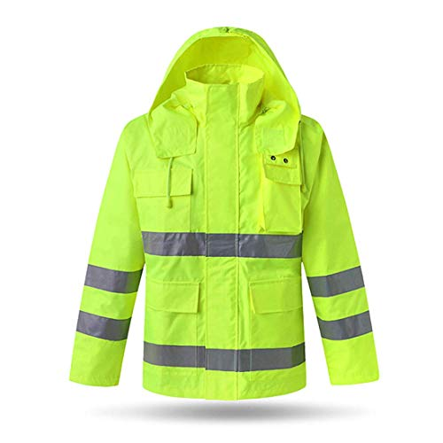 XIAKE Class 3 Hi-Vis Safety Jackets Reflective Rainwear Breathable Windproof Waterproof Antifouling, ANSI/ISEA Compliant,Yellow(Large)