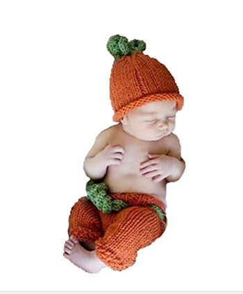 Eyourhappy Baby Photography Prop Crochet Knit Halloween Costume Pumpkin Hat Pants Shorts Outfits