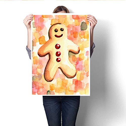 Anshesix Wall Art Canvas Prints Hand Painted Illustration of Happy Gingerbread Man Print Paintings for Home Wall Office Decor 32
