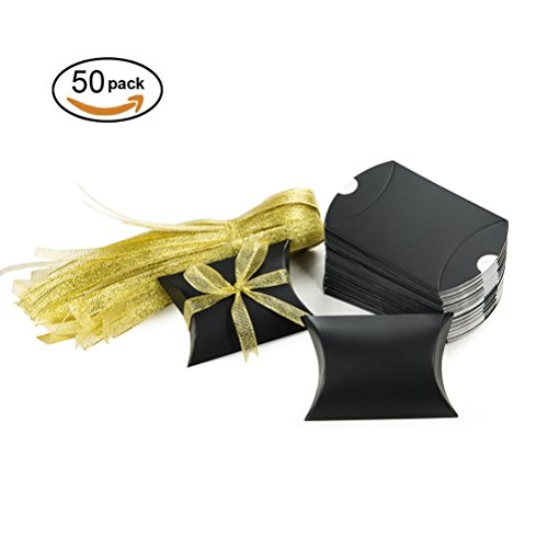MOWO Black Pillow Candy Box with Gold Ribbon Pack of 50 (Small Bulk Items)