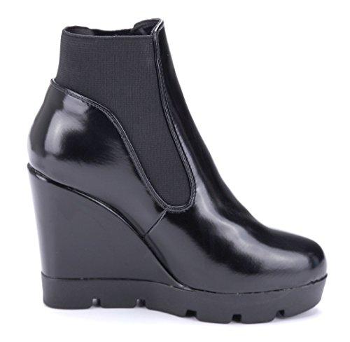 Schuhtempel24 Damen Schuhe Keilstiefeletten Stiefel Stiefeletten Boots Keilabsatz 10 cm High Heels Schwarz
